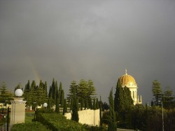 Rainbow over the Shrine of the Bab in Haifa (photo credit: Mara Dornbrook)